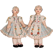 Pair of Twin Sister Felt Dolls.