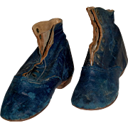 19th c. Boys Blue Leather Shoes