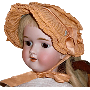Antique Ruched Apricot Silk Bonnet