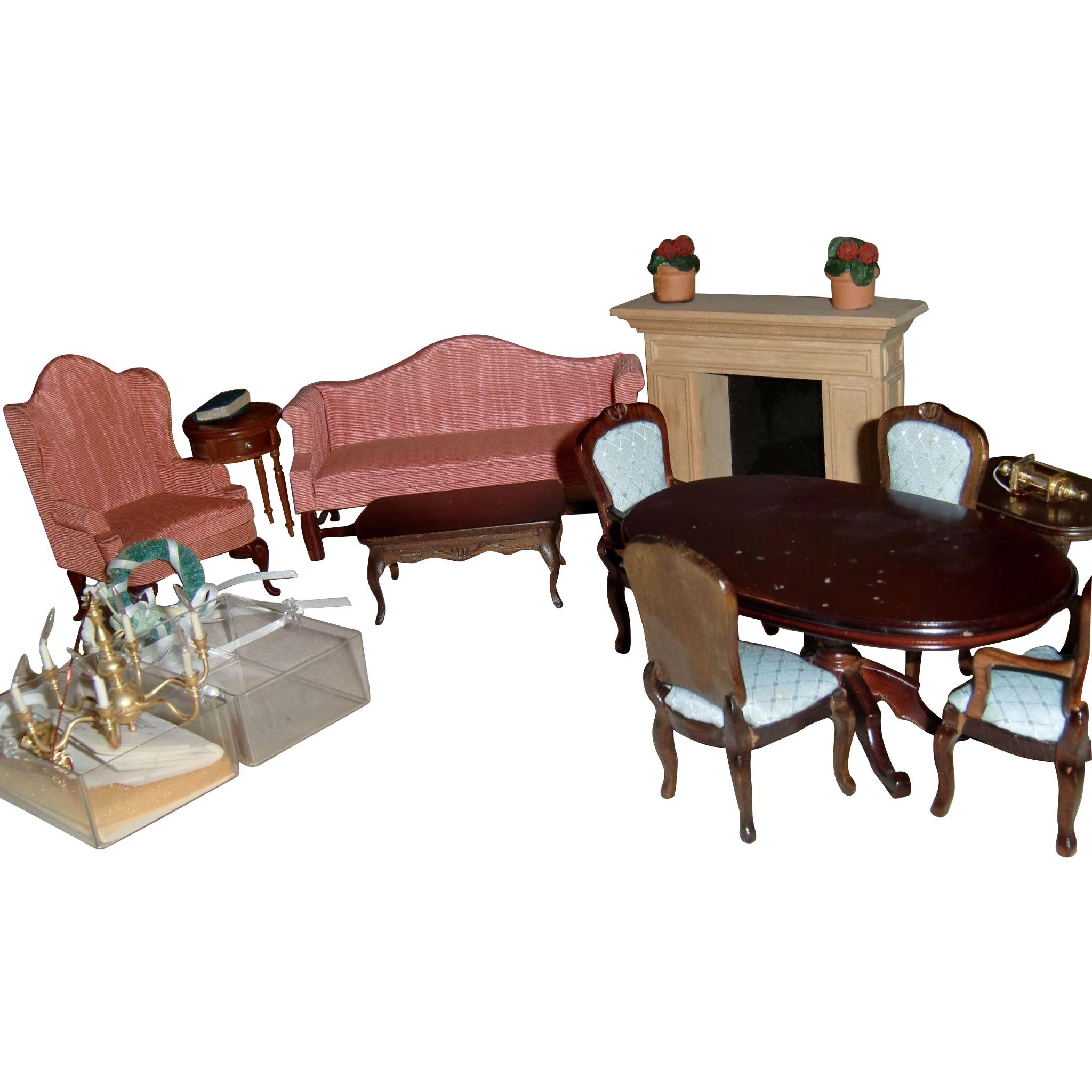 Vintage Dollhouse Furniture 19 Pieces From