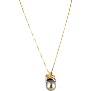 16 x 14 mm Gray Tahitian Baroque Pendant with Diamonds and Gold