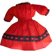 Vibrant Red Wool Blend Dress for Small Doll