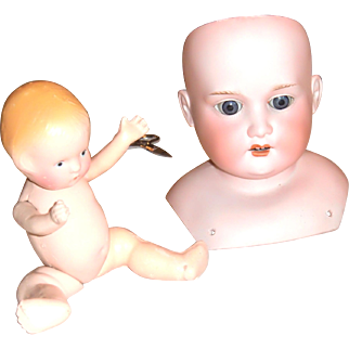 German bisque head and composition souvenir doll