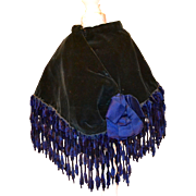 Antique Navy Blue / Black Velvet Cape