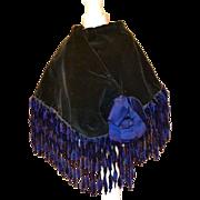 Antique Navy Blue / Black Velvet Cape