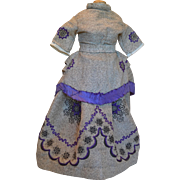 2 Piece Embroidered Purple and Gray Dress for French Fashion