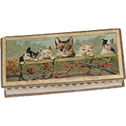 Victorian Christmas Dresden Box with Kittens