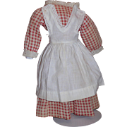 Antique red and white gingham dress with white pinafore