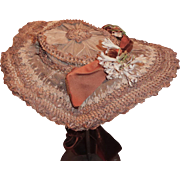 Brown Elaborately Woven Straw and lace Hat, New York Label