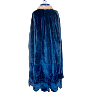 Victorian Girls Carriage Cloak Royal Blue Silk Velvet