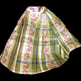 Antique French Silk Plaid Skirt