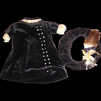 Antique Black Silk Velvet Dress and Hat for  German Bisque doll