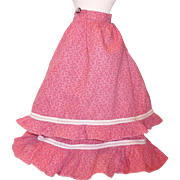Antique Pink Calico Skirt with Bustle Overskirt for slim waist doll