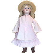2 Piece Antique Pink Cotton Bustle Dress with Straw Hat