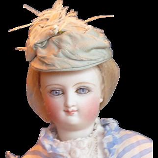 Petite Blue Silk Faille hat for FF