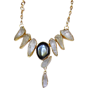 Designer's Necklace of Rock Crystal and Onyx set in 24k Vermeil