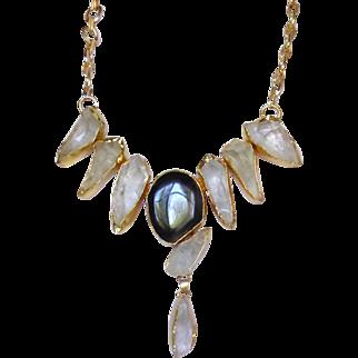Designer's Necklace of Rock Crystal and Onyx set in 24k Vermeil