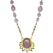 Pink Rose Crystal Quartz  and 24k Vermeil Necklace
