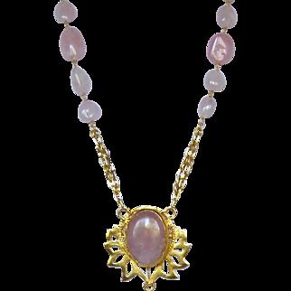 Pink Rose Crystal Quartz  and 24k Vermeil Necklace