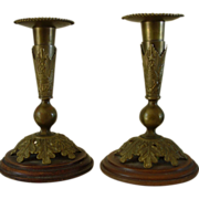 Antique U.S. Cavalry Helmet Plume Socket Brass and Wood Candlesticks
