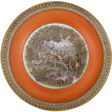 Antique Pratt Ware Staffordshire Transferware Plate with Deer