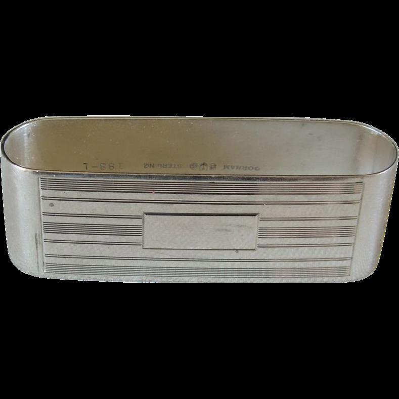 Art Deco Gorham Sterling Rectangular Napkin Ring, no monogram