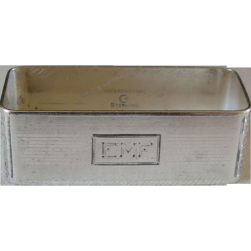 Art Deco International Sterling  Napkin Ring, monogram EMF
