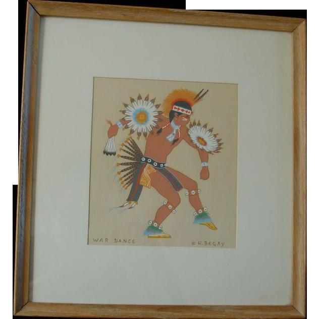 Vintage Harrison Begay Navajo Silk Screen, War Dance Artist Signed