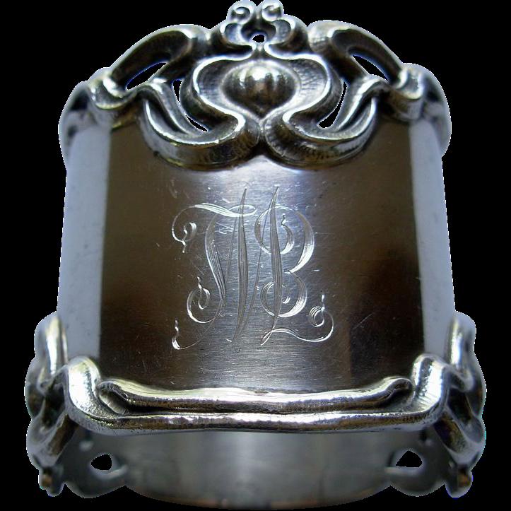 Heavy Art Nouveau Sterling Napkin Ring, Shreve & Co. Lotus Flower