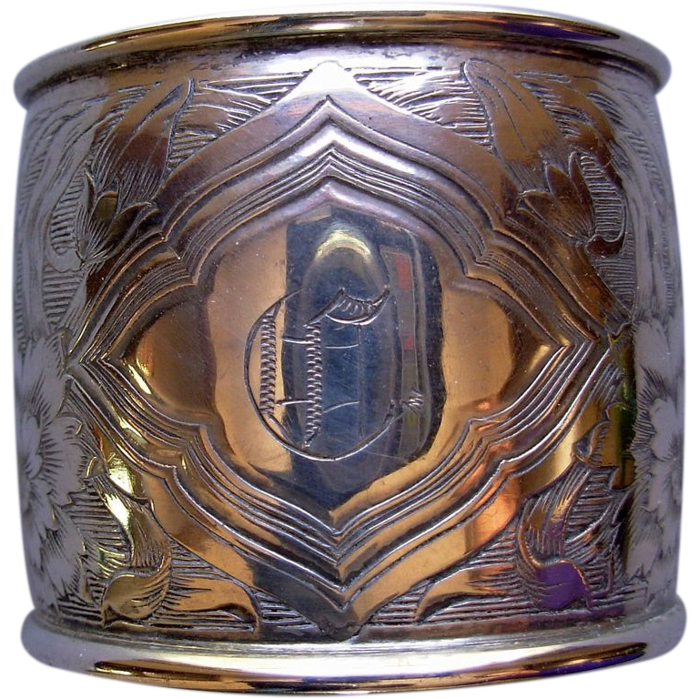 Engraved Art Nouveau Sterling Napkin Ring, monogram C