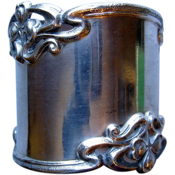 Heavy Art Nouveau Sterling Napkin Ring, Shreve & Co. monogram WCW