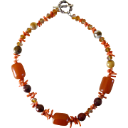 Amber, Coral and Glass Orange, Brown, Red and Yellow Bead Necklace