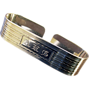 Art Deco Sterling Napkin Ring, monogram DFV
