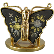 Vintage Damascene Butterfly Place Card Holders, set of 8, Japan