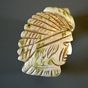 Antique Mother of Pearl Napkin Ring, hand-carved Indian Chief