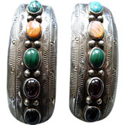 Vintage Navajo Sterling Earrings 5 colored stones