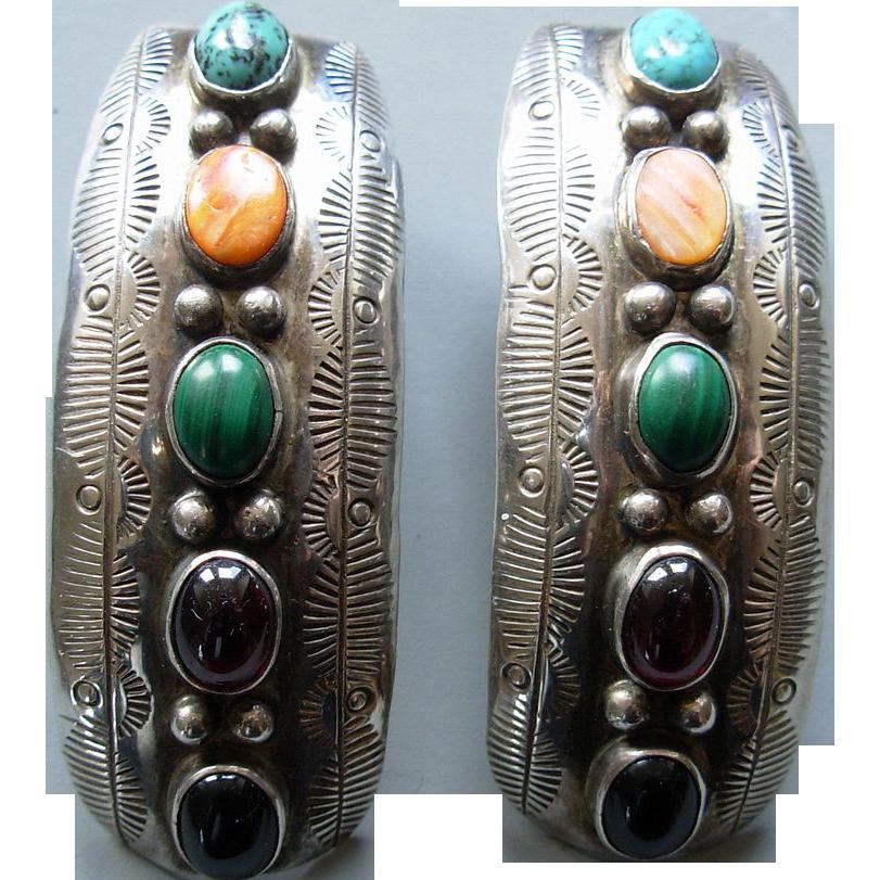 Vintage Navajo Sterling Earrings 5 colored stones