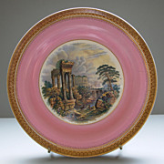 "Antique Pratt Ware Plate ""Goats Amidst the Ruins"""
