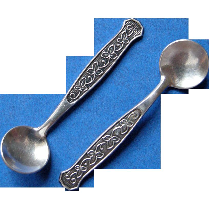 Meka Danish Silver Salt Spoons Mid-Century Modern