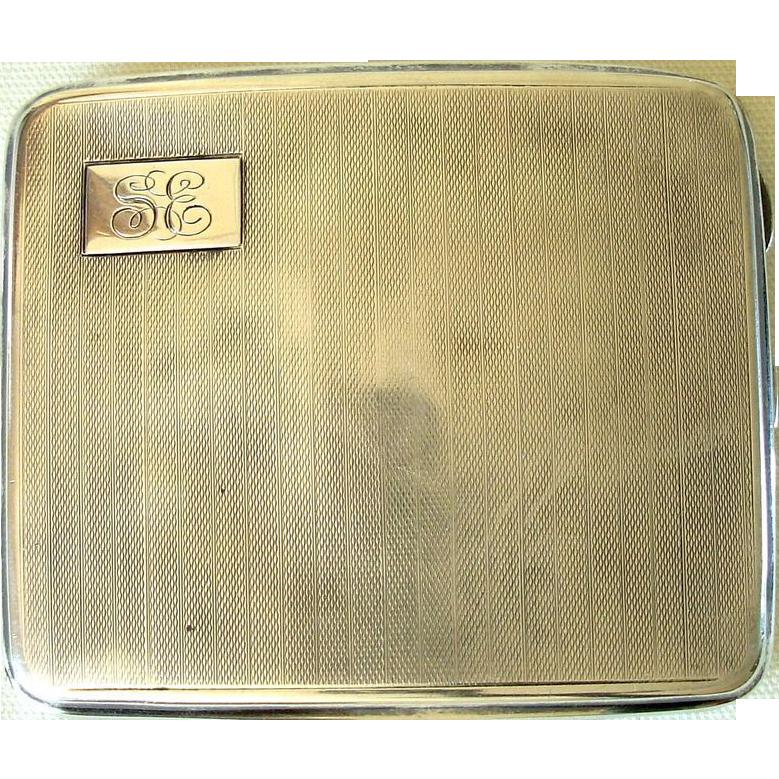Vintage Sterling Birmingham 1928 Cigarette Case, Monogram
