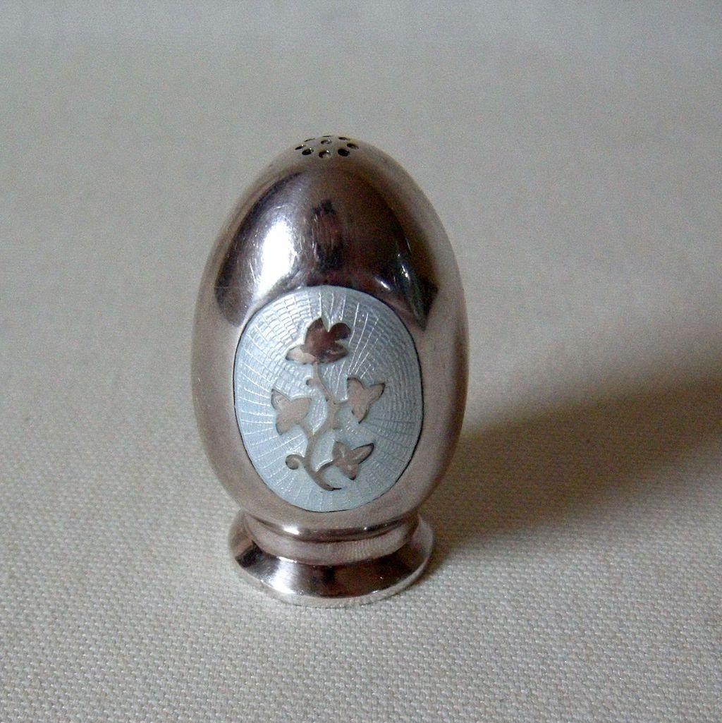 Meka Denmark Mid-Century Sterling Pepper Salt Shaker Guilloche Enamel
