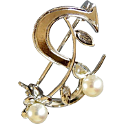 Vintage Sterling and Pearls Monogram Brooch letter S