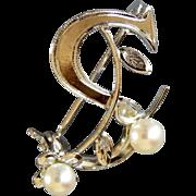 Vintage Sterling and Pearls Monogram Brooch letter S