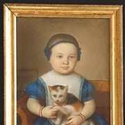 Early American Pastel on Paper Beautiful Baby in Blue w. kitten, cat  c. 1830