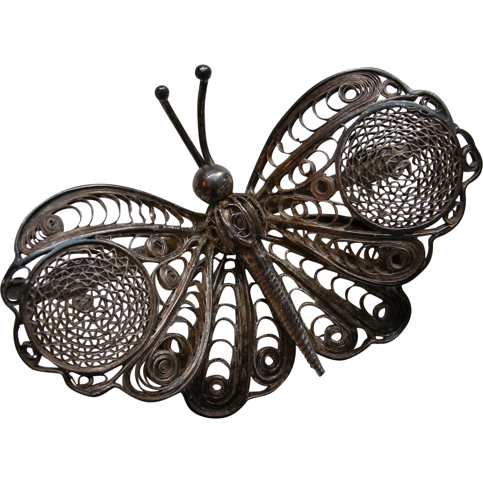 Vintage Silver Filigree Butterfly Brooch