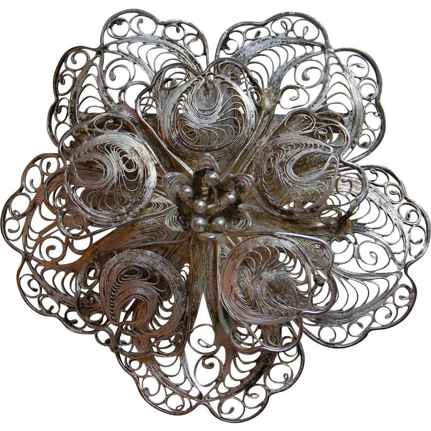 Vintage Sterling Filigree Flower Brooch, Mexico