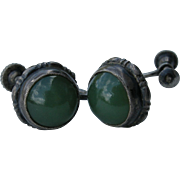 Vintage Jade & Sterling Earrings