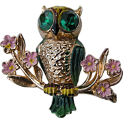 Vintage Coro Gold Tone and Enamel Owl Brooch, Katz