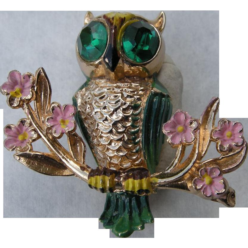 Vintage Coro Gold Tone and Enamel Owl Brooch, Katz