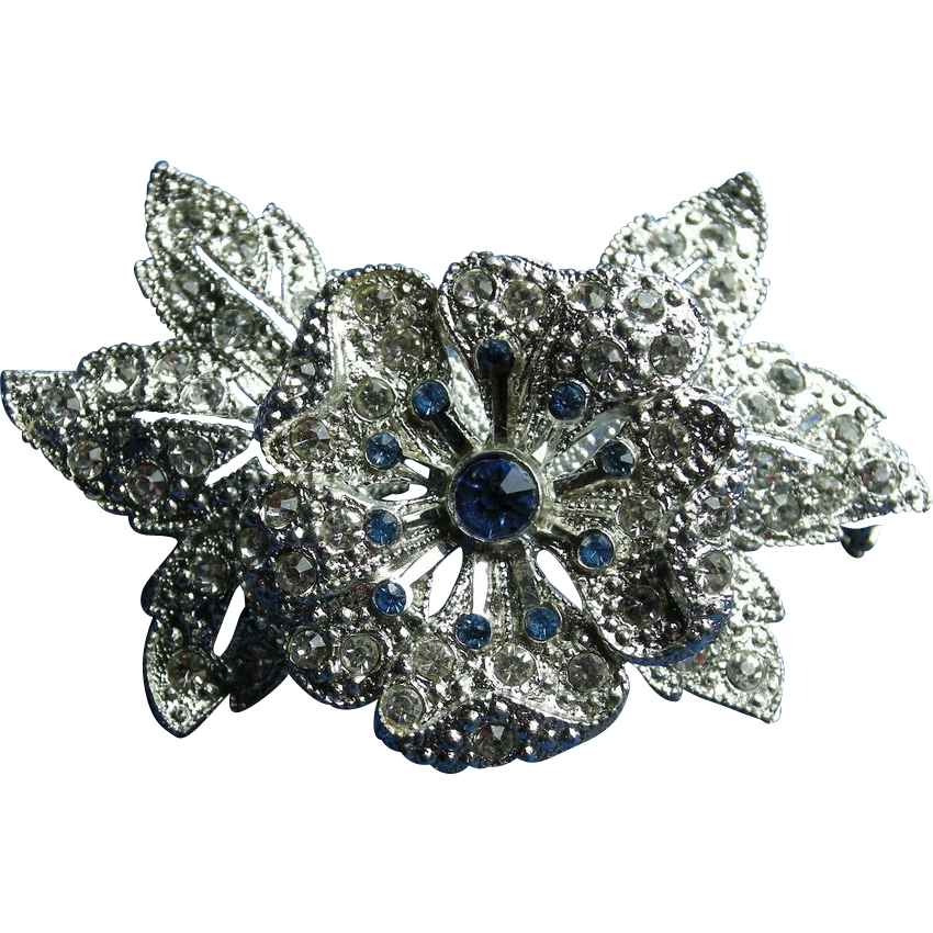 Vintage Rhinestone Flower and Leaves Tremblant, Trembler Brooch